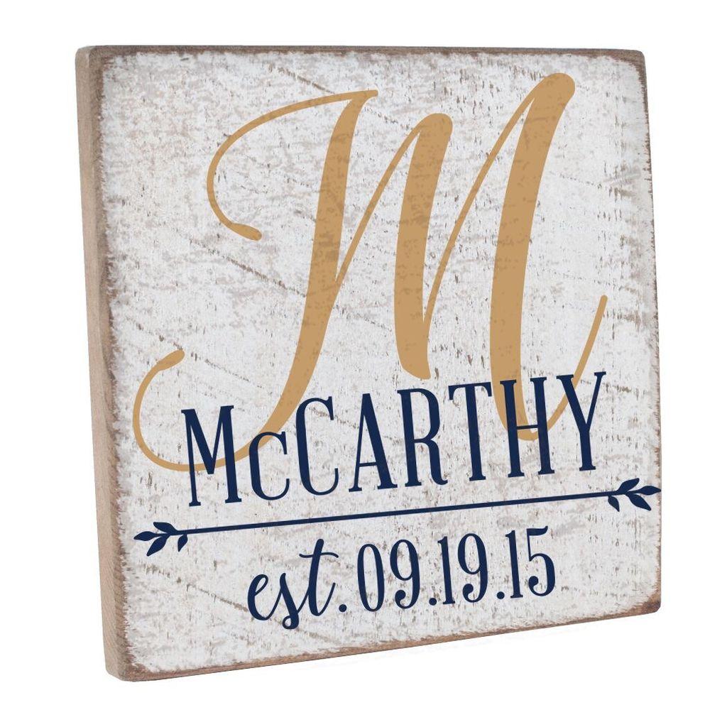 Personalized Wedding Monogram Vintage Square