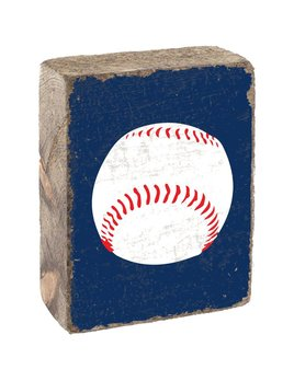 Blueberry Tumbling Block, White Baseball