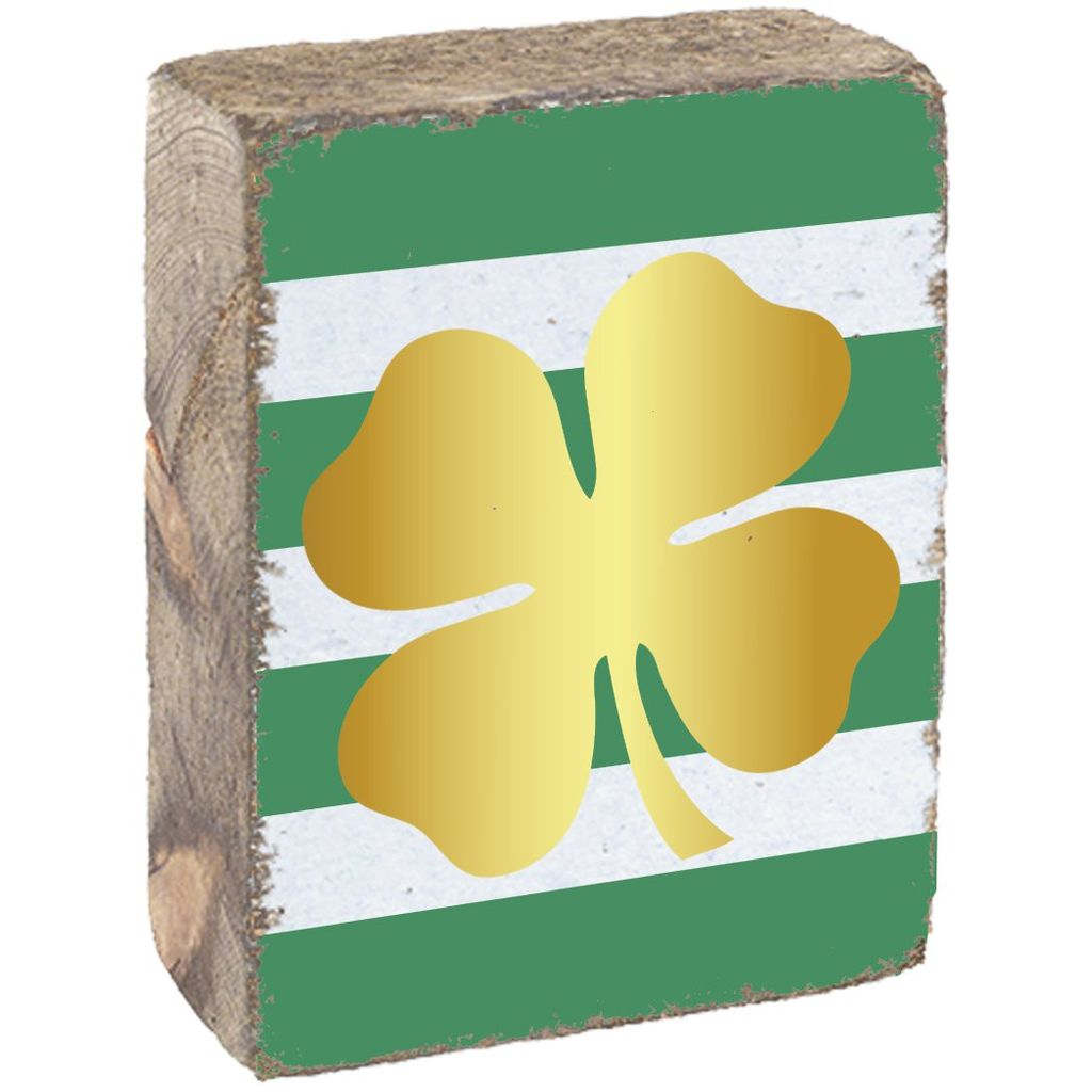 Green & White Tumbling Block, Gold Clover