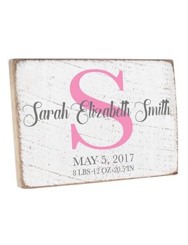 Sign Personalized Birth Announcement Wood Sign
