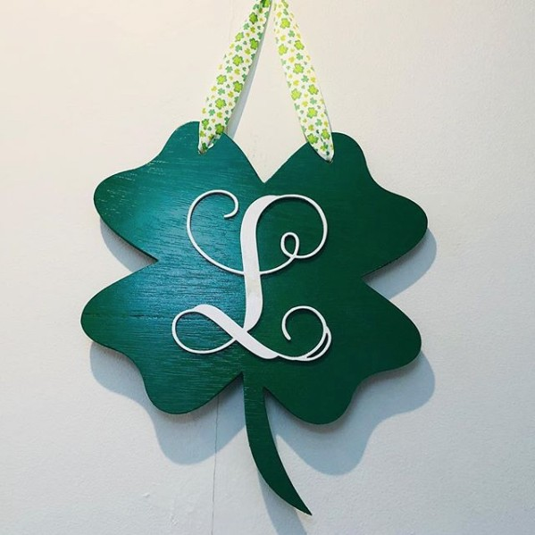 Sign Initial Wooden Shamrock