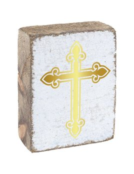 White Tumbling Block, Gold Cross