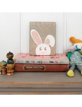 Gray Wash Tumbling Block, White Peeking Bunny