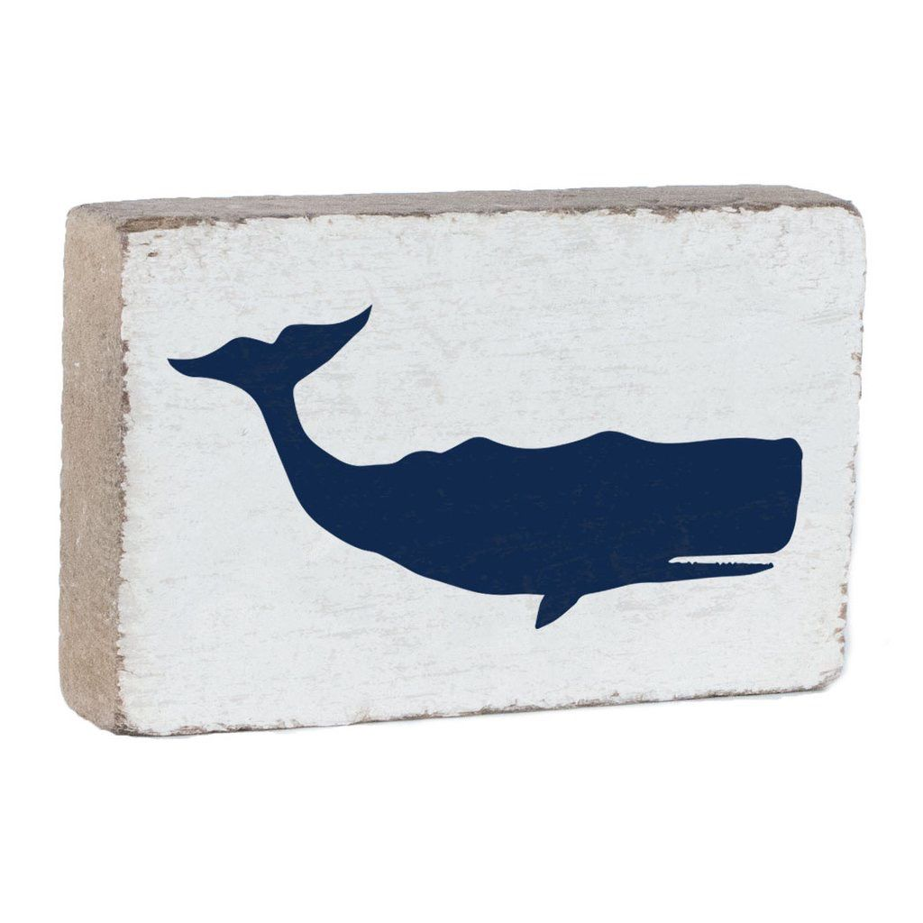 Navy Whale on White XL Block