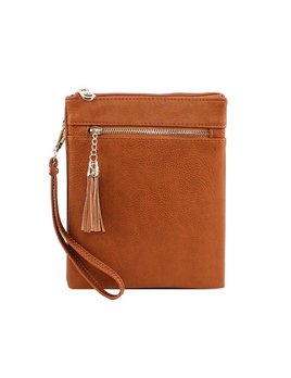 Monogrammed Crossbody Bag with Tassel