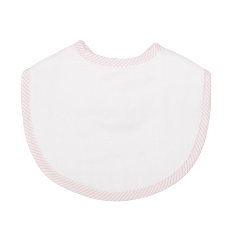 Bib Personalized Pink Seersucker Stripe Medium Bib