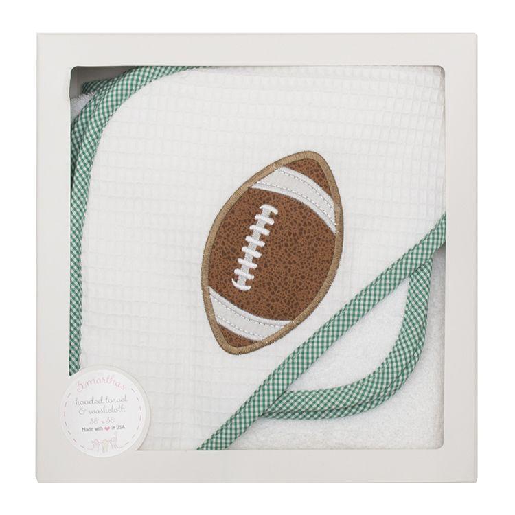 Towel Green Football Hooded Towel & Washcloth Set