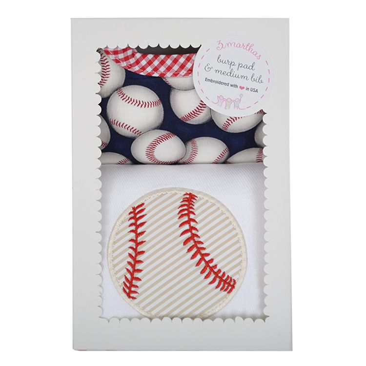 Burp Cloth Baseball Bib & Burp Boxed Set