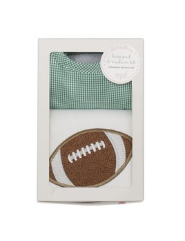 Burp Cloth Green Football Bib & Burp Boxed Set