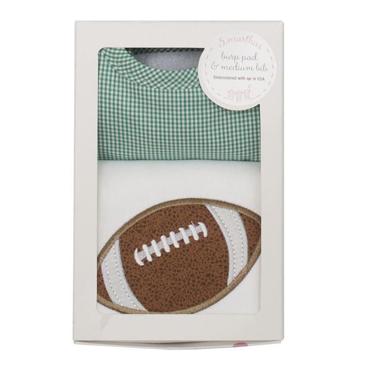 Burp Cloth Green Football Bib & Burp Boxed Set