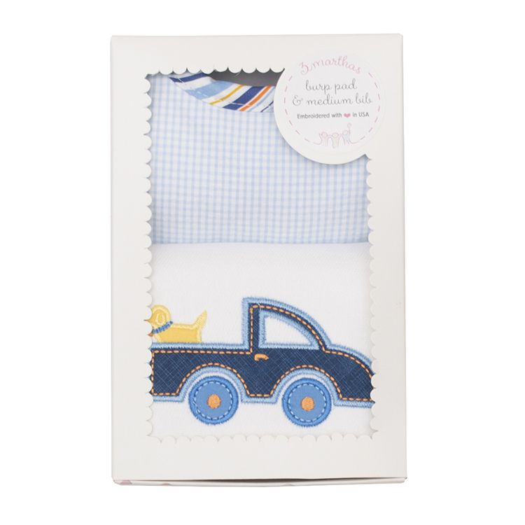 Burp Cloth Truck Bib & Burp Boxed Set