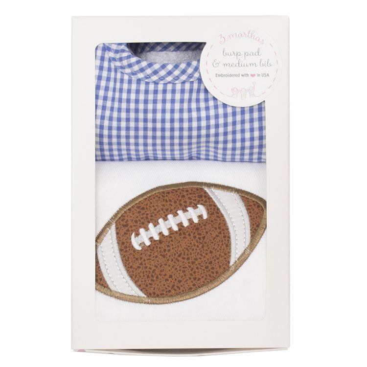Burp Cloth Blue Football Bib & Burp Boxed Set