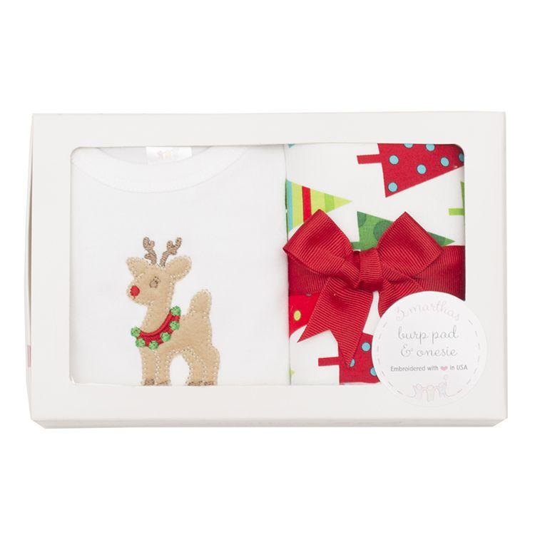 Christmas Reindeer Onesie & Burp Box Set