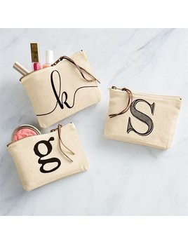Pouch Initial Canvas Cosmetic Pouch