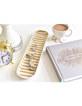Tray Gold Stripe Scoop Oval Tray
