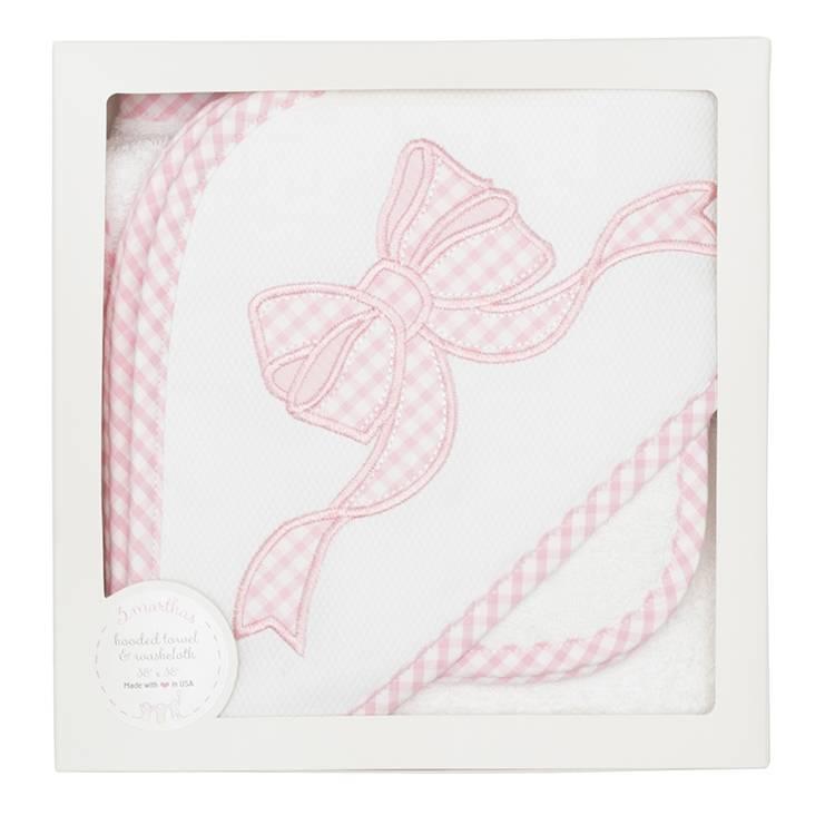 Towel Pink Bow Hooded Towel & Washcloth Set