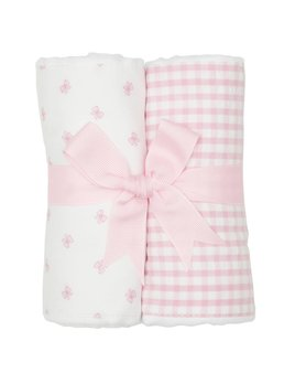 Burp Cloth Pink Bow Set of Two Burp Cloths