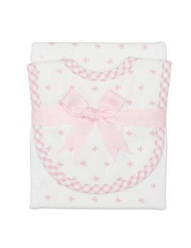 Burp Cloth Pink Bow Drooler Bib & Burp Set