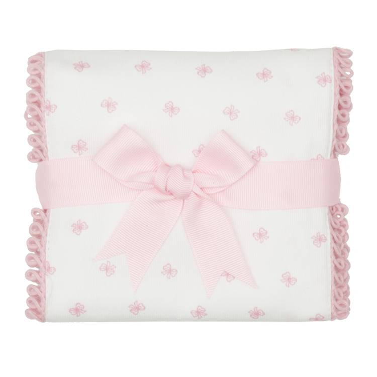 Burp Cloth Pink Bow Fancy Burp Cloth