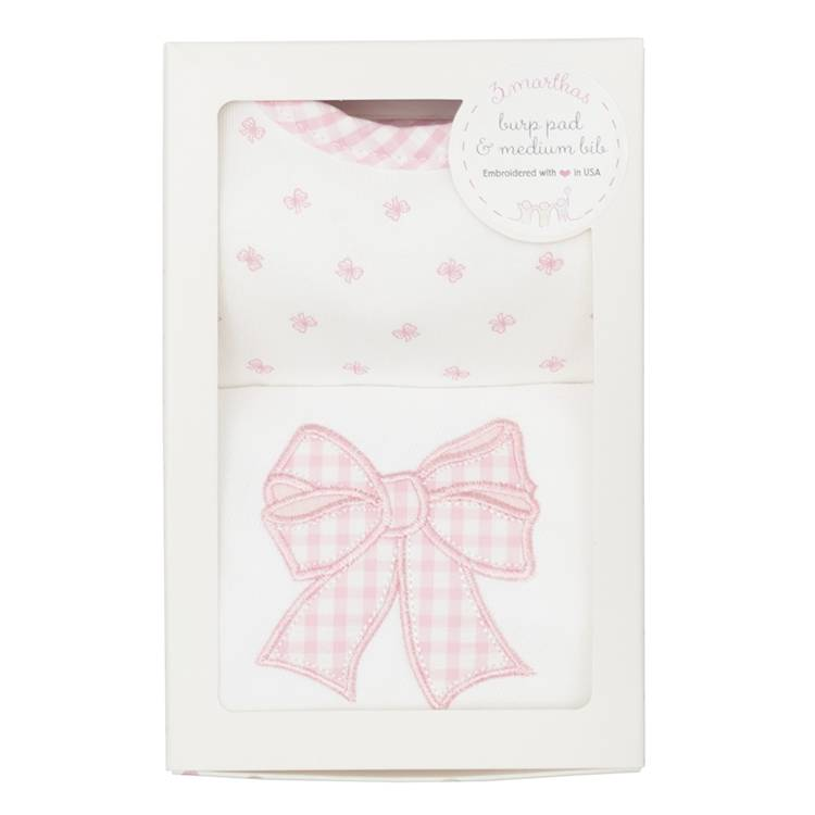 Pink Bow Bib & Burp Box Set
