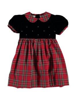 Dress Shortsleeve Velvet Plaid Party Yoke Dress
