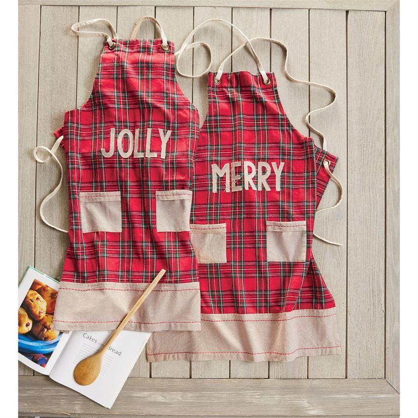 apron tartan chambray christmas apron - Christmas Apron