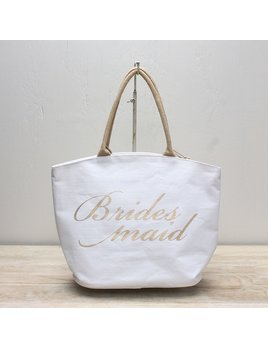 Tote Bridesmaid Arch Top Tote, White/Gold