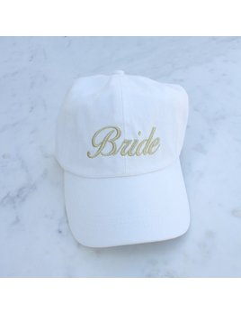 Hat Bride Baseball Hat, White/Gold