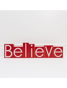 Decoration Believe Red and White Wooden Block Set