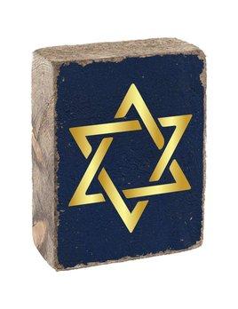 Navy Tumbling Block, Gold Star of David