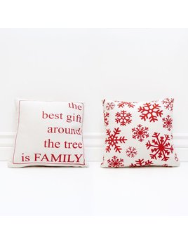 Pillow The Best Gift Around The Tree Is Family - Red and White Pillow