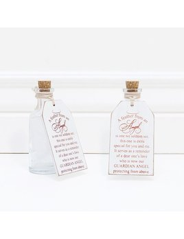 A Feather From An Angel - White and Red Wooden Tag With Bottle