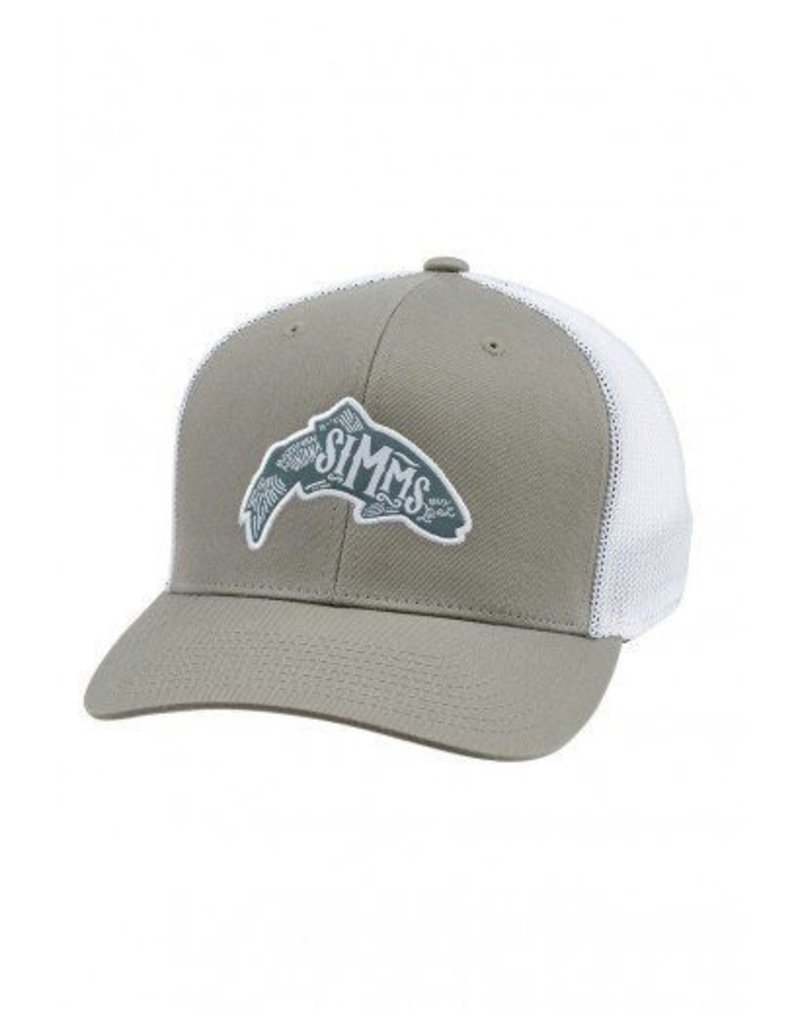 Simms Flexfit Trucker Woodblock Trout Coffee