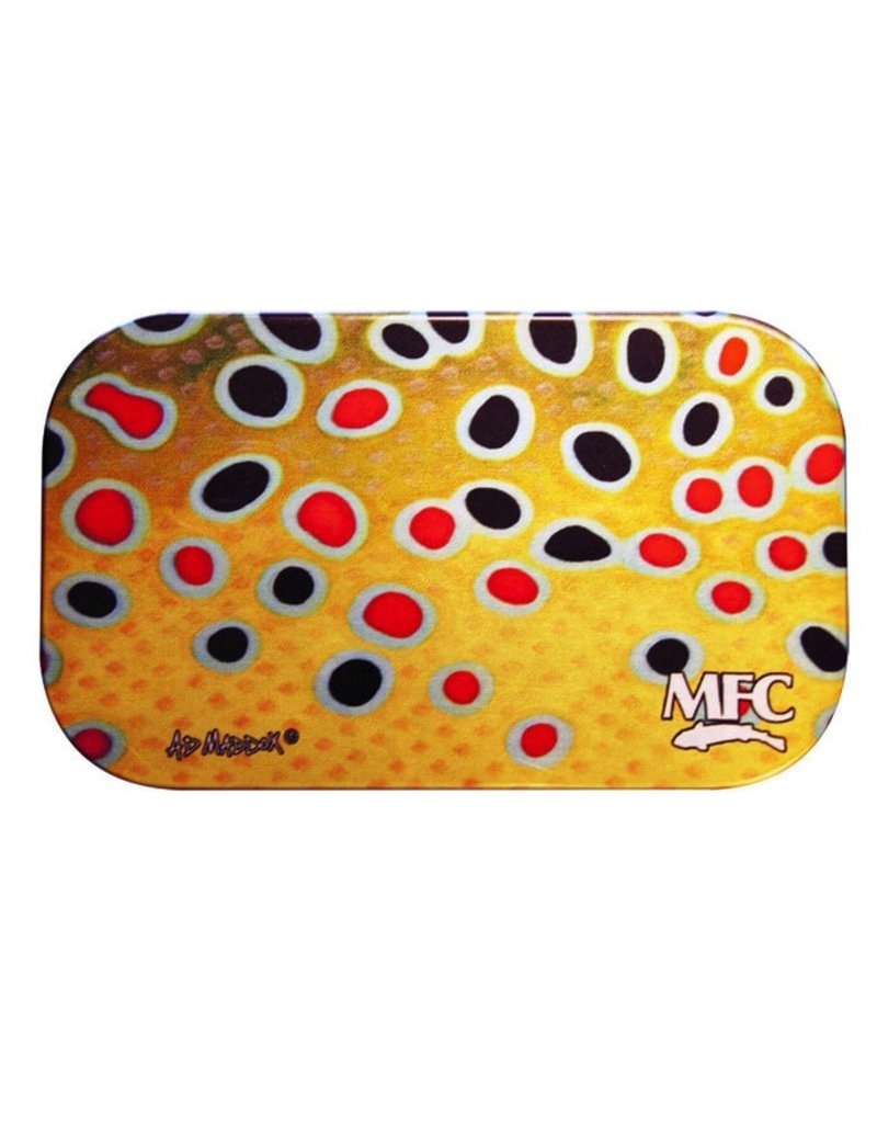 MFC Aluminum Slit Foam Fly Box Maddox's Brown Trout Skin