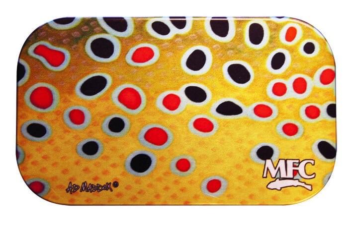MFC Aluminum Slit Foam Fly Box Maddox's Brown Trout Skin