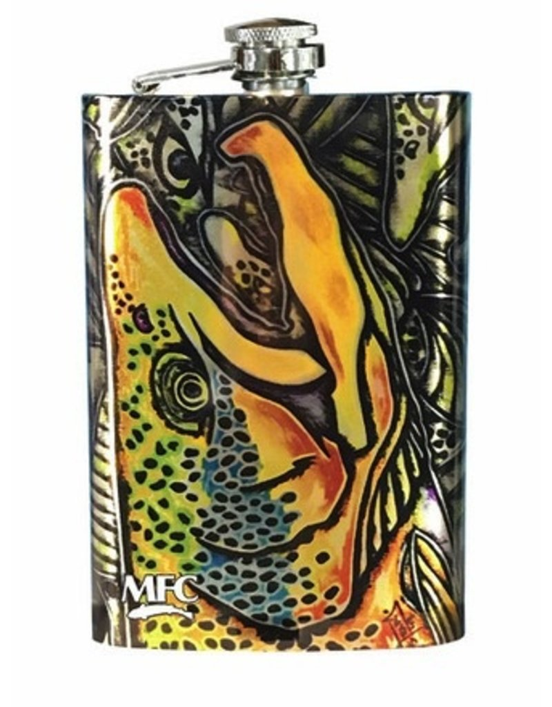 MFC Stainless Hip Flask Estrada's Brown Trout Graffiti
