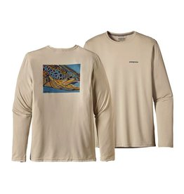 Patagonia Men's Graphic Fish Tee LS Brown Eye: Pelican