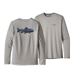 Patagonia Men's Graphic Fish Tee, Painted Fitz Roy Trout, Grey