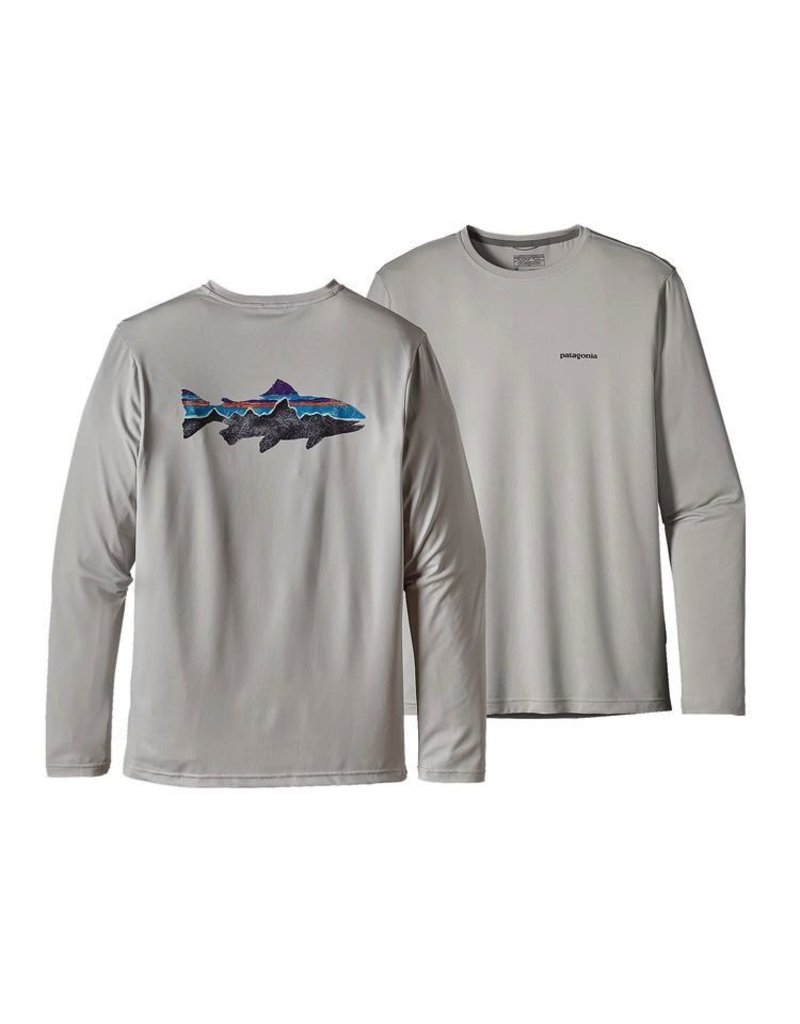 Patagonia Men's Graphic Fish Tee, Painted Fitz Roy Trout, Tailored Grey