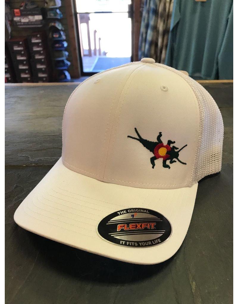 The iconic CO Stonebug Logo on the Flexfit Trucker