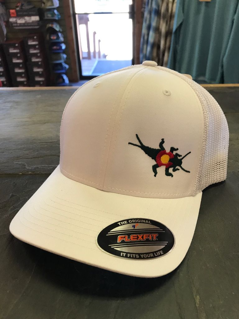 The iconic CO Stonebug Logo on the Flexfit Trucker