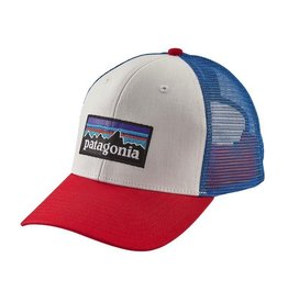 Patagonia P-6 Trucker Hat White w/Fire