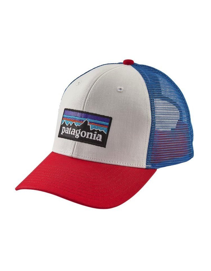 Patagonia P-6 Trucker Hat White w/Fire