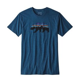 Patagonia Men's Fitz roy Bear Cotton/Poly T-Shirt Big Sur Blue
