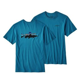Patagonia Men's Fitz Roy Trout Cotton T-Shirt Filter Blue