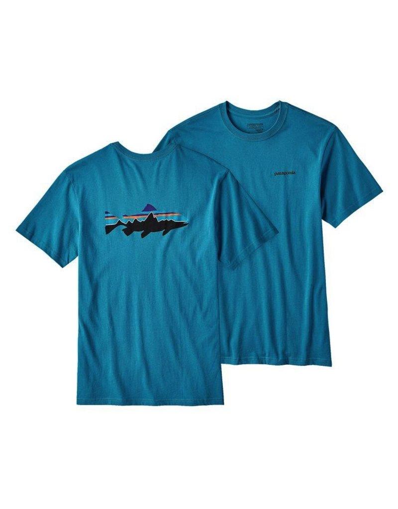 Patagonia Men's Fitz Roy Trout Cotton T-Shirt Filter Blue