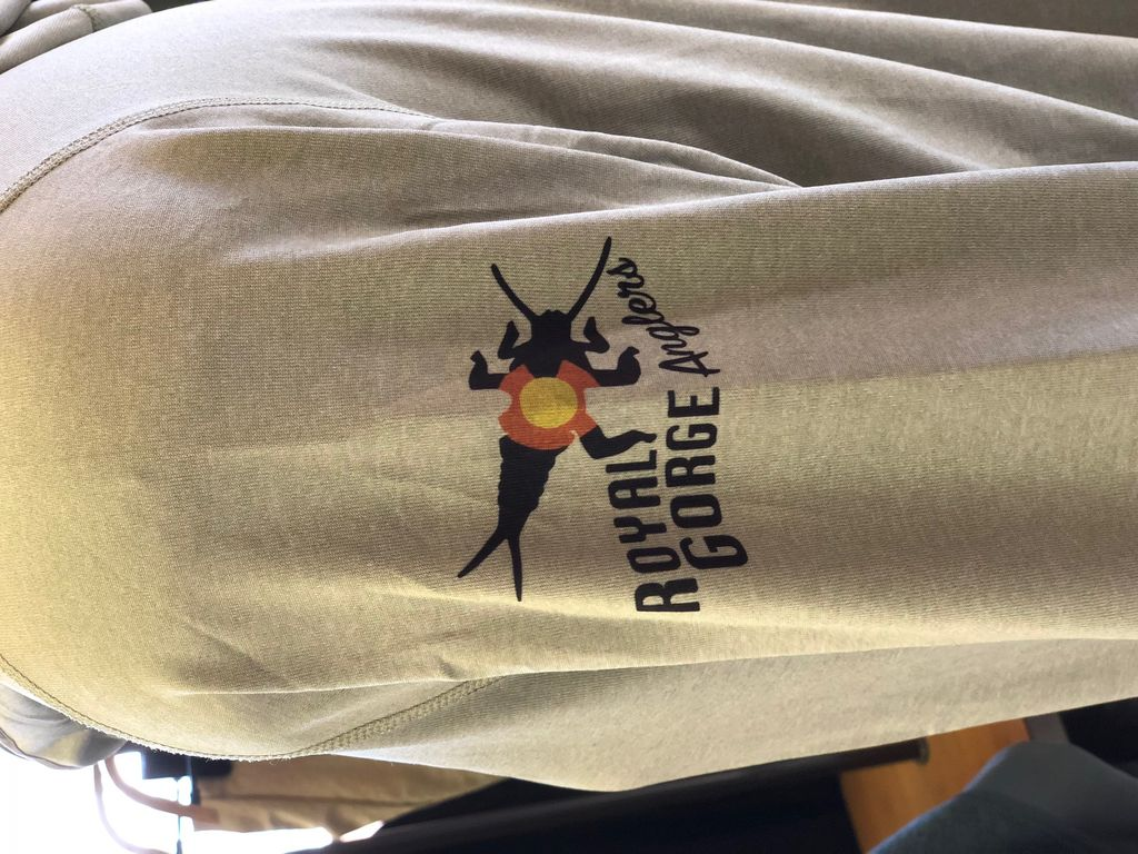 Patagonia Men's Tropic Comfort Hoody II Logo: Royal Gorge Anglers Stonebug sleeve drop