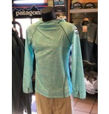 Patagonia Women's Sunshade Hoody Logo:  Royal Gorge Anglers Stonebug sleeve dro