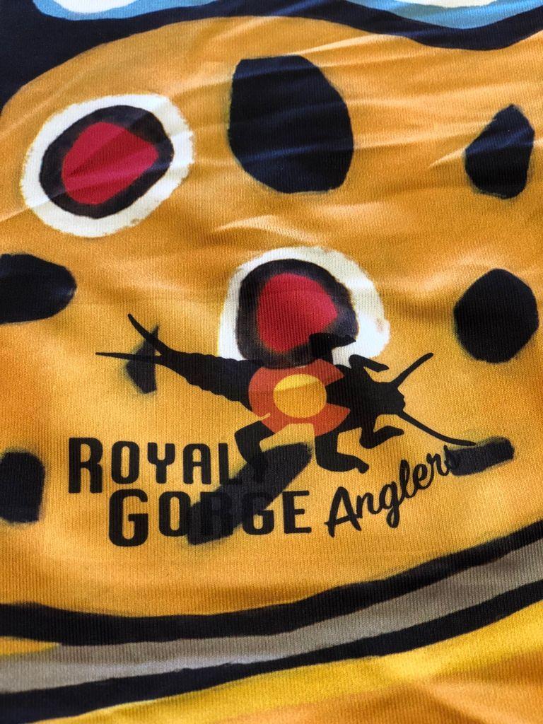Patagonia Sun Mask Logo: Royal Gorge Anglers Stonebug
