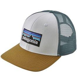 Patagonia P-6 Trucker Logo Hat White/Kanstanos Brown